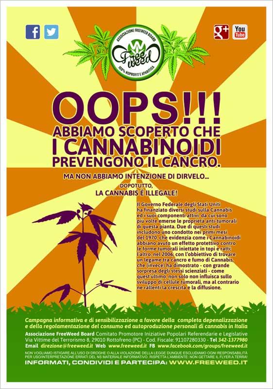 Cannabis VS Cancro - Volantino A4 a colori - 01