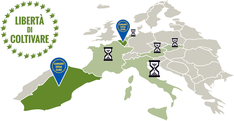 Mappa del progetto Cannabis Social Club in Europa