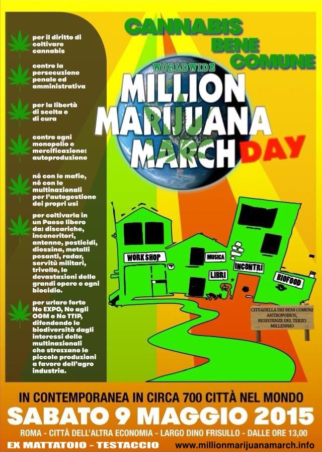 Million Marijuana March 2015 - Roma, Sabato 9 Maggio - Locandina Ufficiale