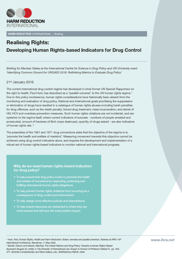 "Briefing Paper: ""Realising Rights: Developing Human Rights-based Indicators for Drug Control"""