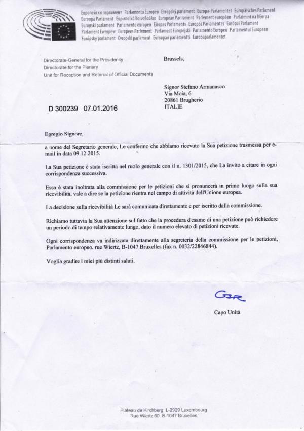 La notifica di ricezione del Parlamento Europeo