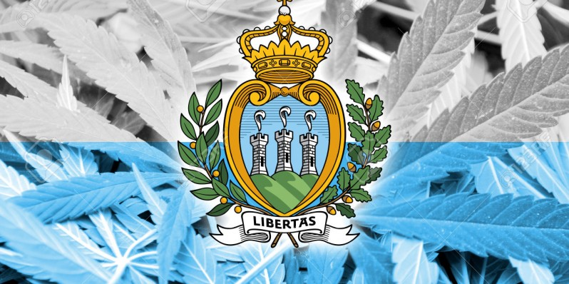San Marino Flag on cannabis background. Drug policy. Legalization of marijuana