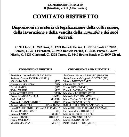 """Ecco il Comitato Ristretto che deciderà le sorti (ed il nuovo testo) del DDL """"Cannabis Legale"""""""