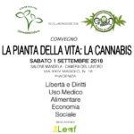 """Convegno """"La Pianta della Vita: La Cannabis"""" – Piacenza – 1 settembre 2018"""